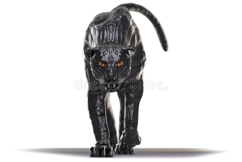 Evil looking cyborg black panther with red glowing eyes walking towards camera stock image