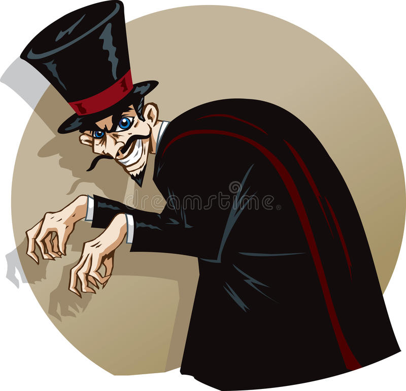 Evil magician. Evil mastermind or magician being maniacal stock illustration