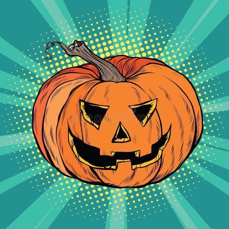 Evil pumpkin character Halloween vector illustration
