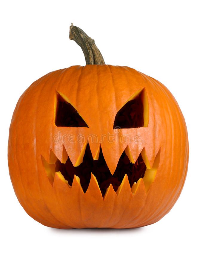 Free Evil Pumpkin On White Royalty Free Stock Photo - 13741575