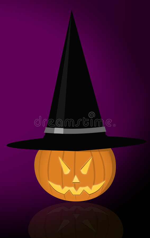 Evil pumpkin with witch hat royalty free stock photos