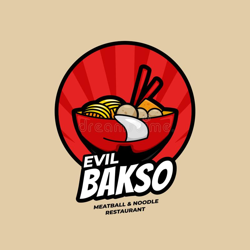 Red Evil Ramen Bakso and Meatball and Noodle Restaurant bowl with face logo symbol icon illustration vector illustration