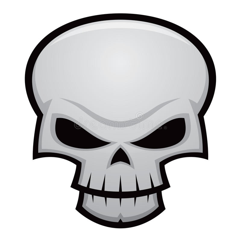 Evil Skull. Cartoon illustration of an evil, stylized skull. Great for Halloween, pirate flags, warnings, etc
