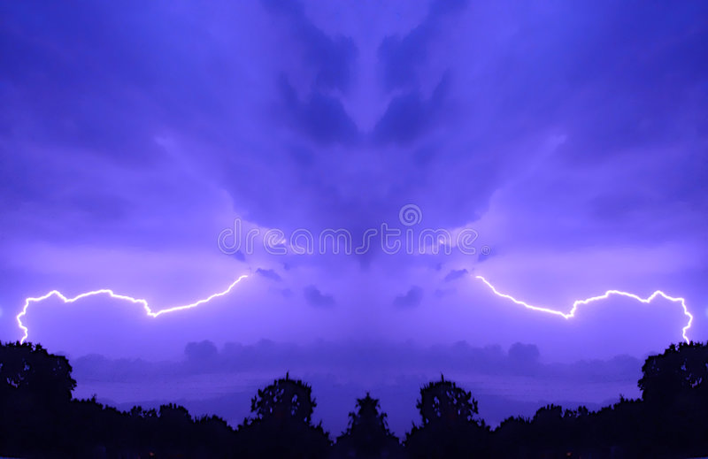 Purple sky with lightning stock image