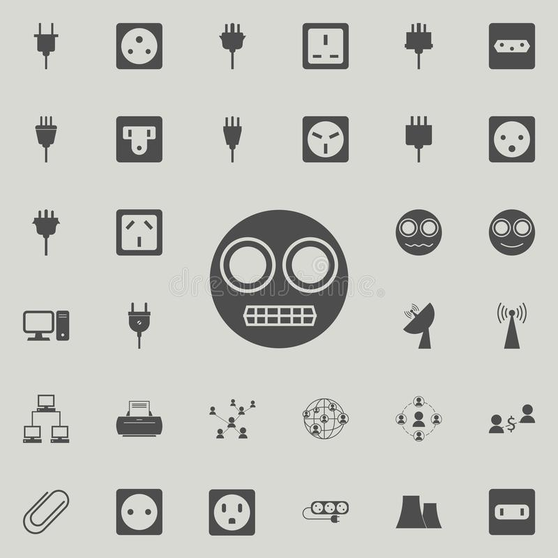 Evil smiley icon. Detailed set of Minimalistic icons. Premium quality graphic design sign. One of the collection icons for websi. Tes, web design, mobile app on royalty free illustration