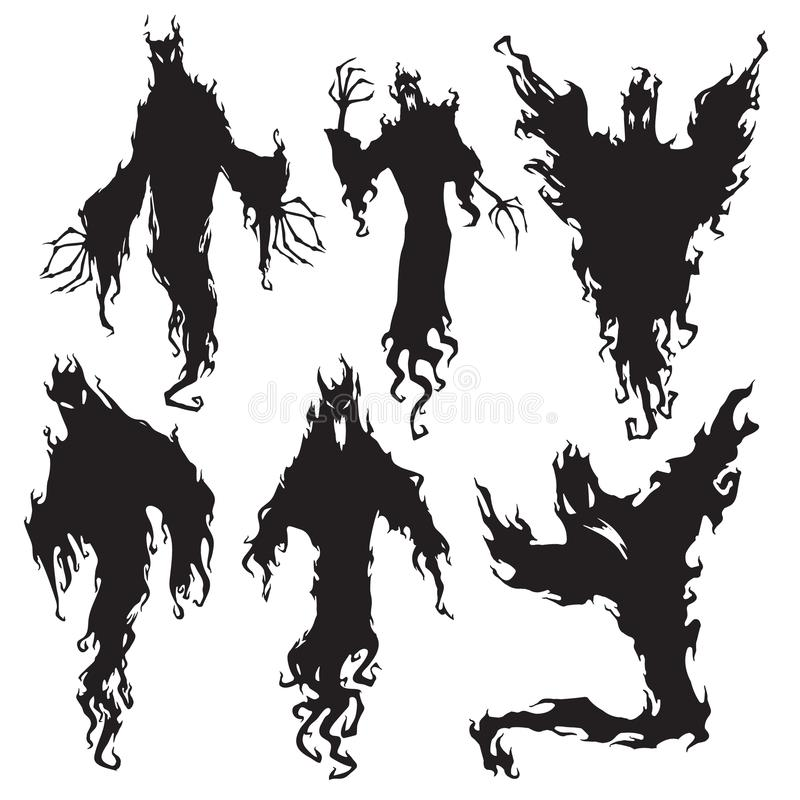 Evil spirit silhouette. Halloween dark night devil, nightmare demon or ghost silhouettes. Flying metaphysical vector vector illustration
