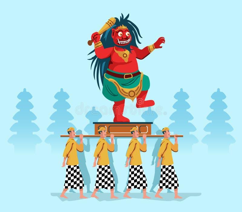 Evil Spirit Statue Parade By Hindu Bali People royalty free illustration