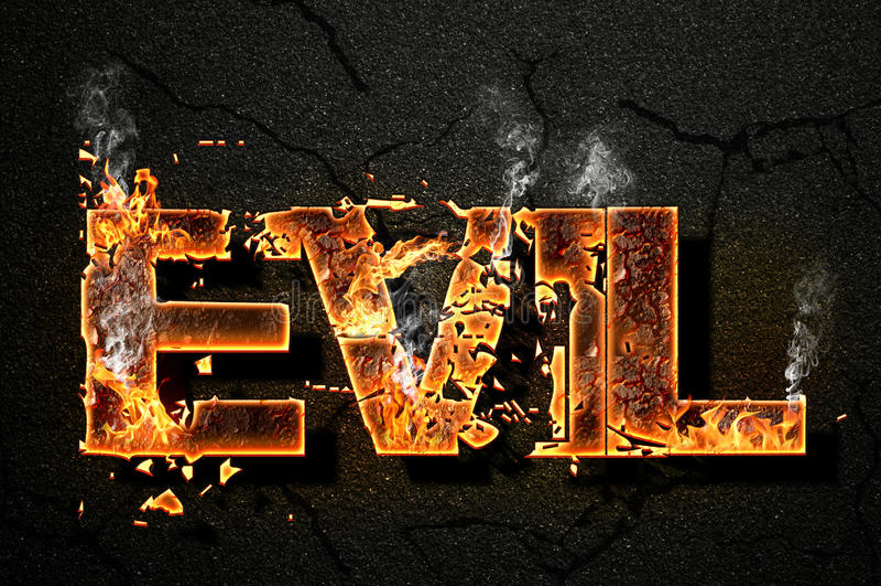 Evil text stock photos