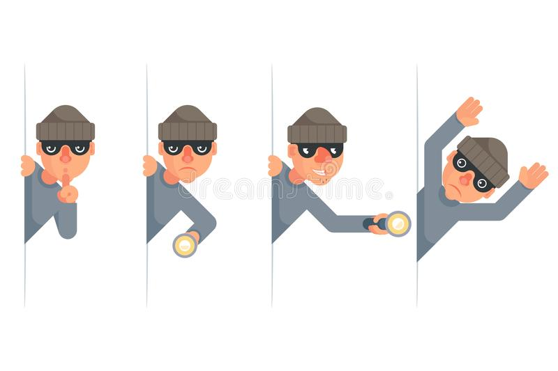 Evil thief greedily grabbing hand flashlight peeping out surrender give up cartoon characters set flat design isolated stock illustration