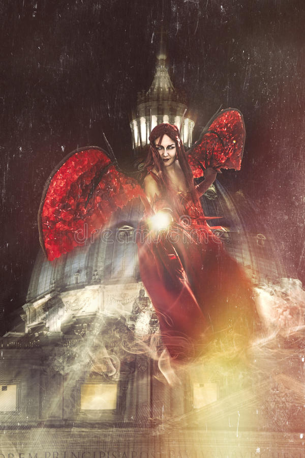 Evil on the Vatican. Angels and demons. Night and darkness royalty free illustration