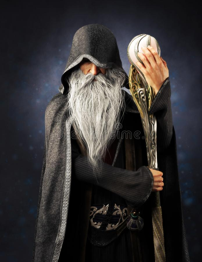 Free Evil Warlock Old Hooded Wizard Posing With Staff On A Blue Gradient Background. Stock Image - 144922131