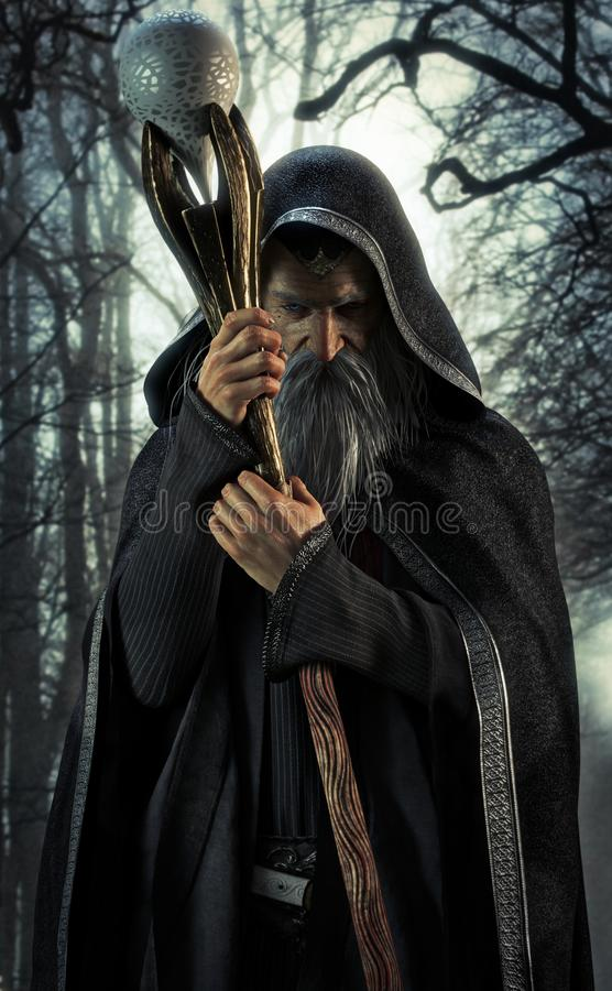 Evil Warlock posing in an enchanted dark forest. vector illustration