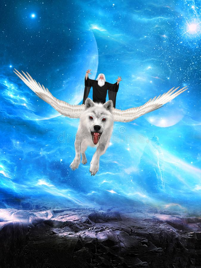 Evil Wizard, Flying White Wolf. An evil wizard with white hair and a beard is flying on a white wolf with wings. They fly above an alien planet royalty free stock images