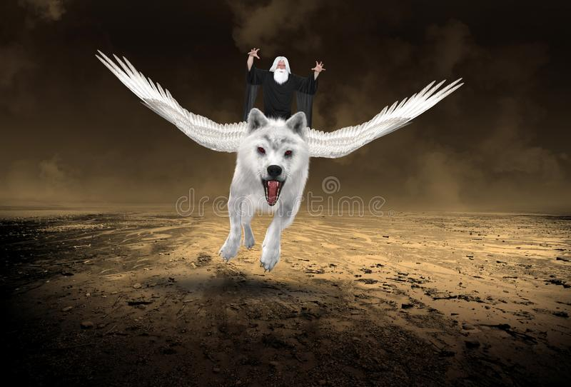 Evil Wizard, Flying White Wolf. An evil wizard with white hair and a beard is flying on a white wolf with wings. They fly above a desolate desert stock image