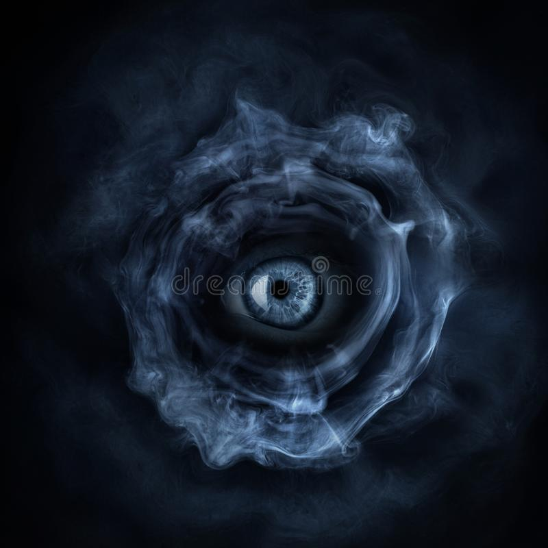 Evil, zombie, spooky monster eye on dark horror background. Gothic style stock photos