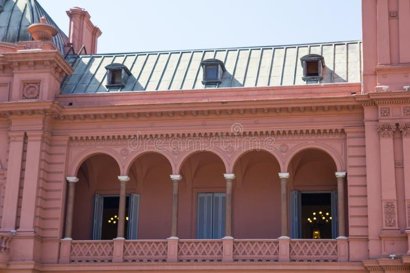 Evita Peron`s balcony. Casa Rosada Pink House Presidential Palace of Argentina. royalty free stock image