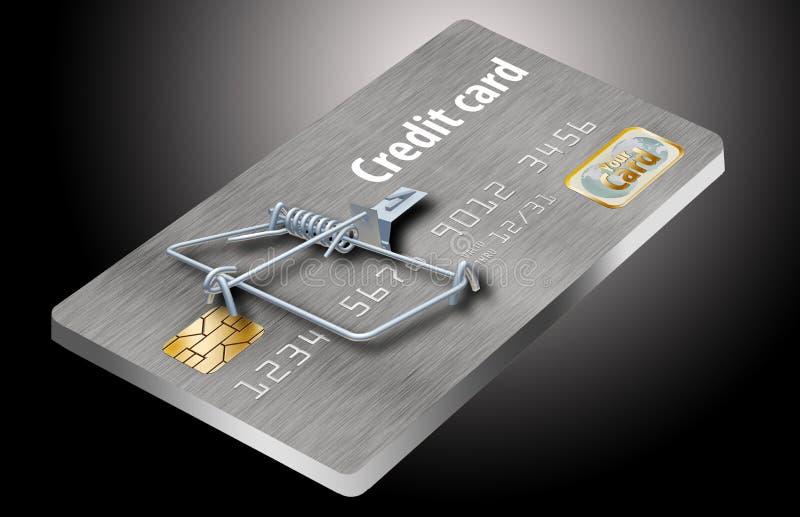 Evite las trampas de la tarjeta de crédito, como ésta que parece una tarjeta de crédito dada vuelta en una ratonera libre illustration