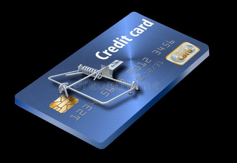 Evite las trampas de la tarjeta de crédito, como ésta que parece una tarjeta de crédito dada vuelta en una ratonera ilustración del vector