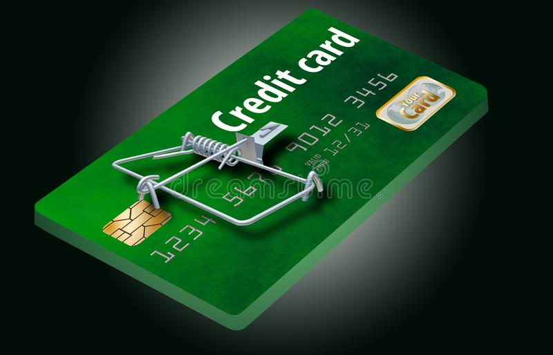 Evite las trampas de la tarjeta de crédito, como ésta que parece una tarjeta de crédito dada vuelta en una ratonera fotos de archivo libres de regalías