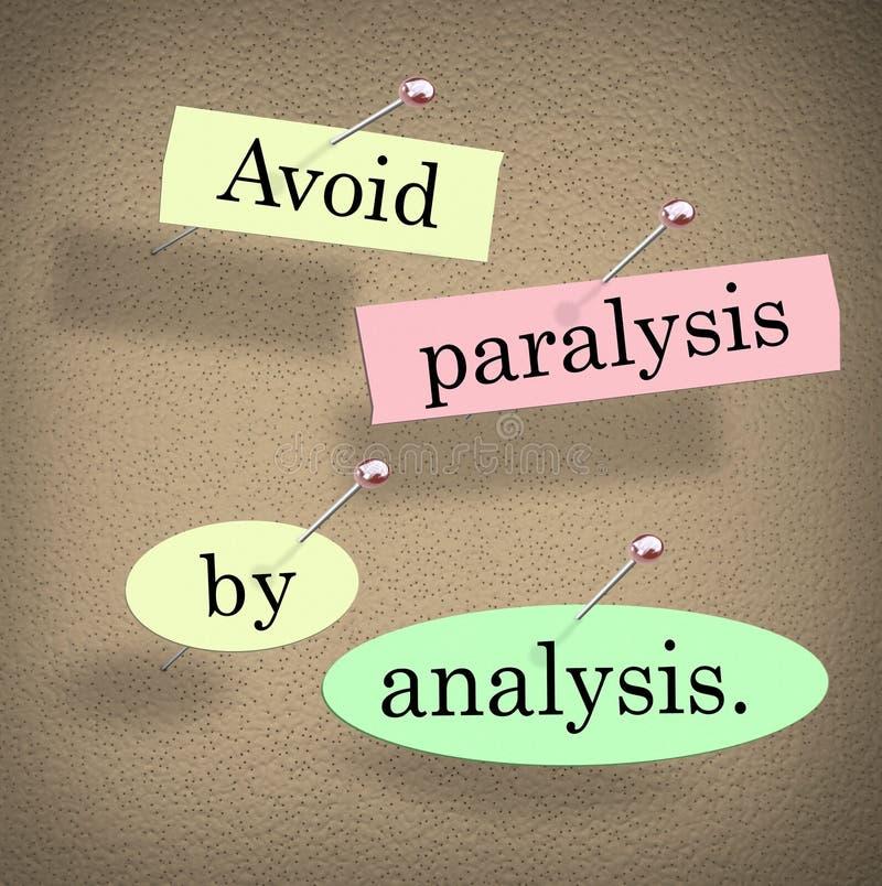 Evite a paralisia pelo quadro de mensagens das palavras da análise que diz citações ilustração royalty free
