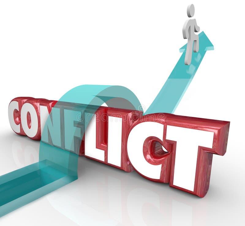 Evite a seta do conflito sobre a palavra nenhuma batalha Disagreem de Confrtonation ilustração stock