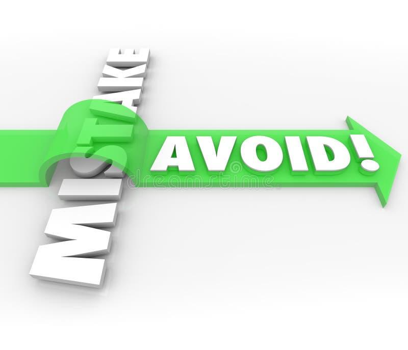 Eviti la freccia di errore sopra la parola impediscono l'errore di problema illustrazione di stock