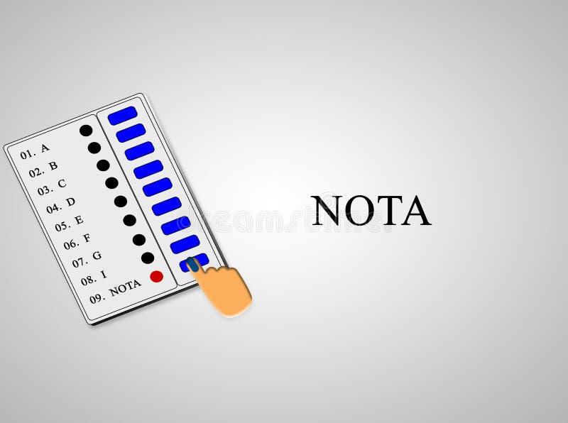 EVM ou conceito eletrônico da máquina de voto da pressão de mão NOTA ou nenhum da opção acima no EVM ilustração do vetor