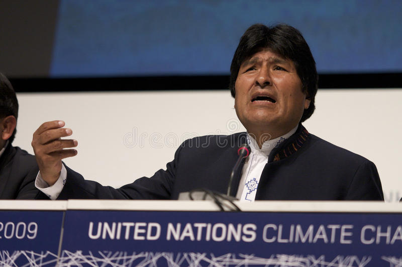 Evo Morales. President of Bolivia, at COP15 (United Nations Climate Change Conference Copenhagen 2009) in Copenhagen Denmark stock photo