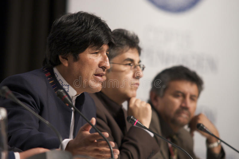 Evo Morales. President of Bolivia, at COP15 (United Nations Climate Change Conference Copenhagen 2009) in Copenhagen Denmark royalty free stock image