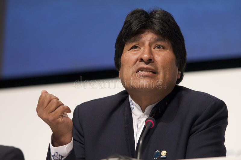 Evo Morales. President of Bolivia, at COP15 (United Nations Climate Change Conference Copenhagen 2009) in Copenhagen Denmark stock image