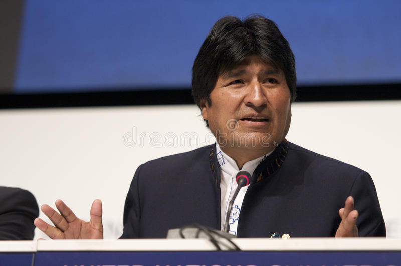 Evo Morales. President of Bolivia, at COP15 (United Nations Climate Change Conference Copenhagen 2009) in Copenhagen Denmark stock photos