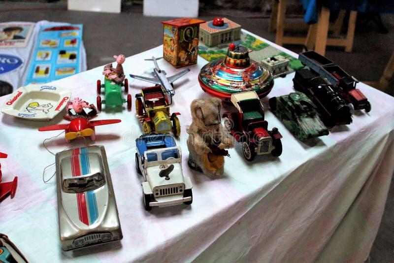 Vintage car model toy at a vintage market stock images