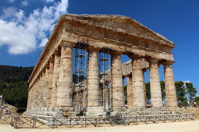 Classic Doric Greek Temple At Segesta, Sicily royalty free stock photos