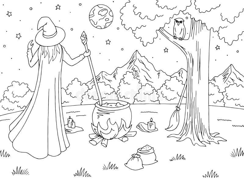 Evocazione della strega Vettore bianco nero grafico dell'illustrazione di schizzo del paesaggio della montagna illustrazione vettoriale