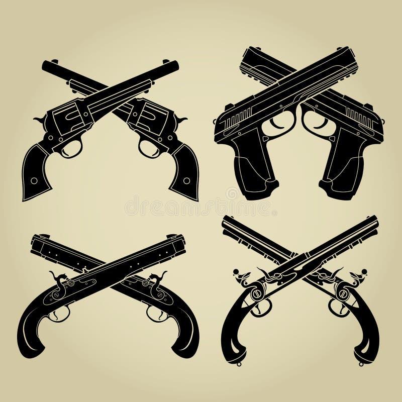 Evolução das armas de fogo, silhuetas cruzadas ilustração do vetor