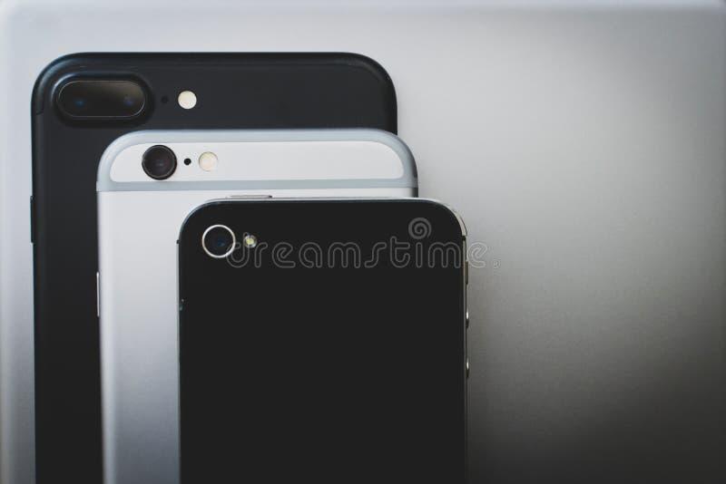 Evolução das câmeras do iphone de Apple imagem de stock