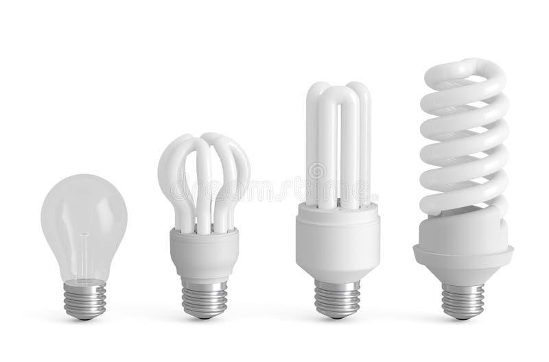 Evolução do conceito das lâmpadas ilustração do vetor