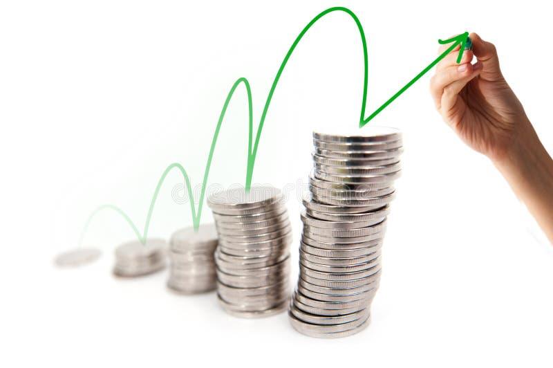 Evolução do gráfico do dinheiro fotografia de stock royalty free