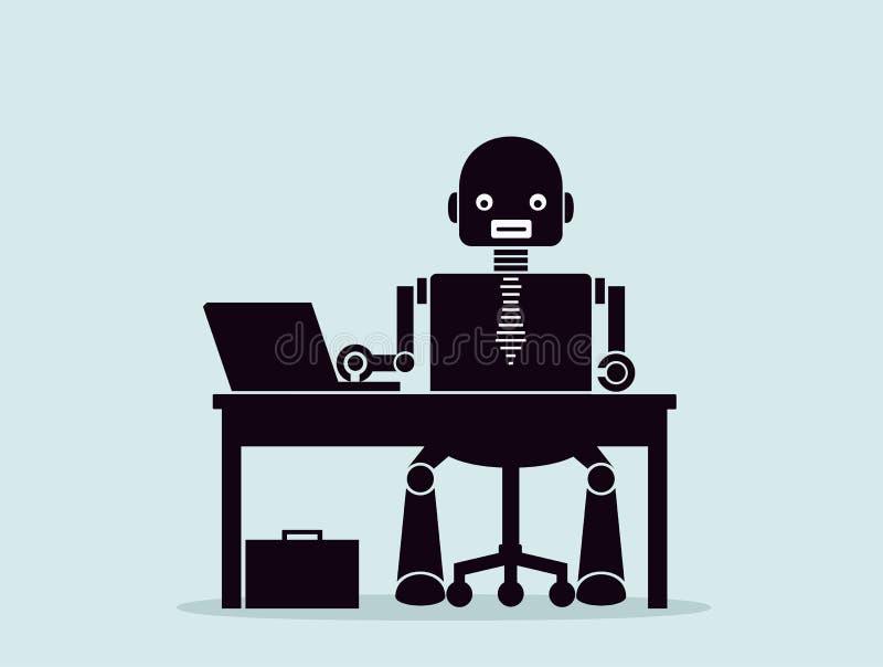 Evolução dos robôs Conceito de substituir povos com os robôs ilustração stock
