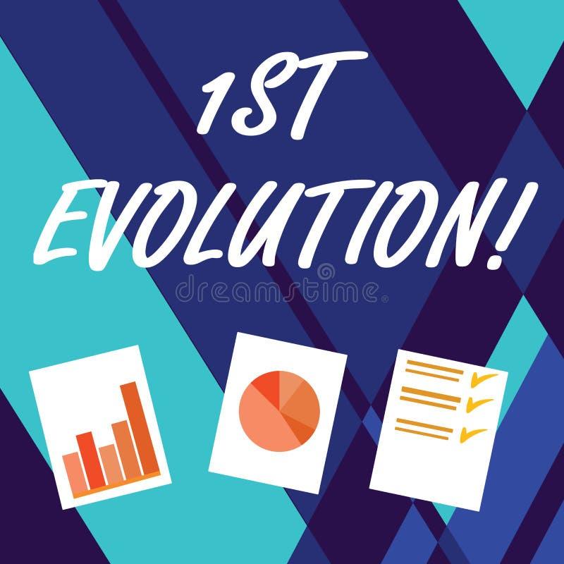 Evolución de la escritura del texto de la escritura 1ra Concepto que significa el cambio en las características genéticas de pobl stock de ilustración