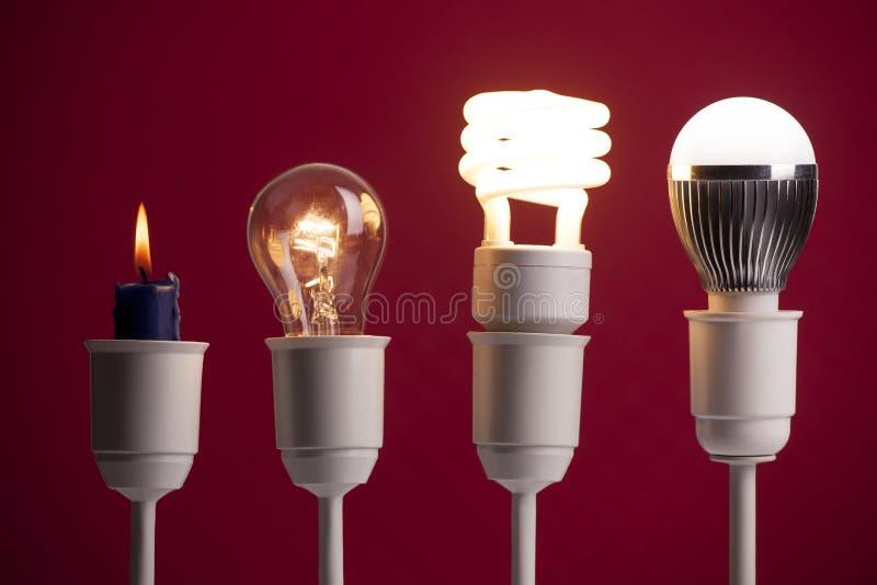 Evolución de la iluminación imágenes de archivo libres de regalías