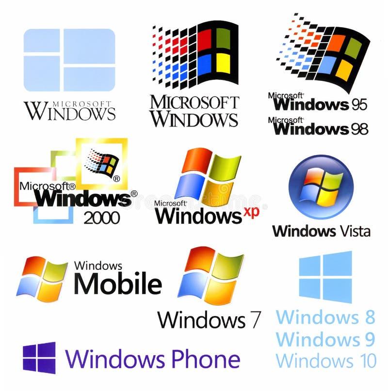 Evolución de los logotipos de Microsoft Windows ilustración del vector