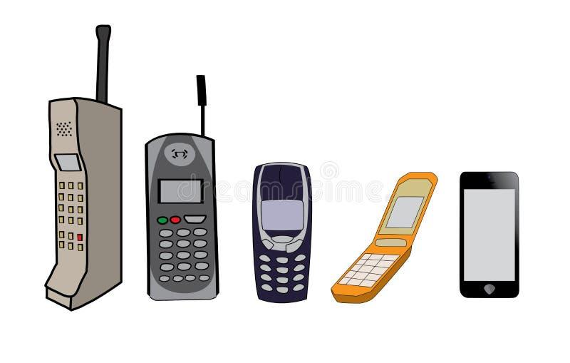 Evolución de los teléfonos celulares ilustración del vector