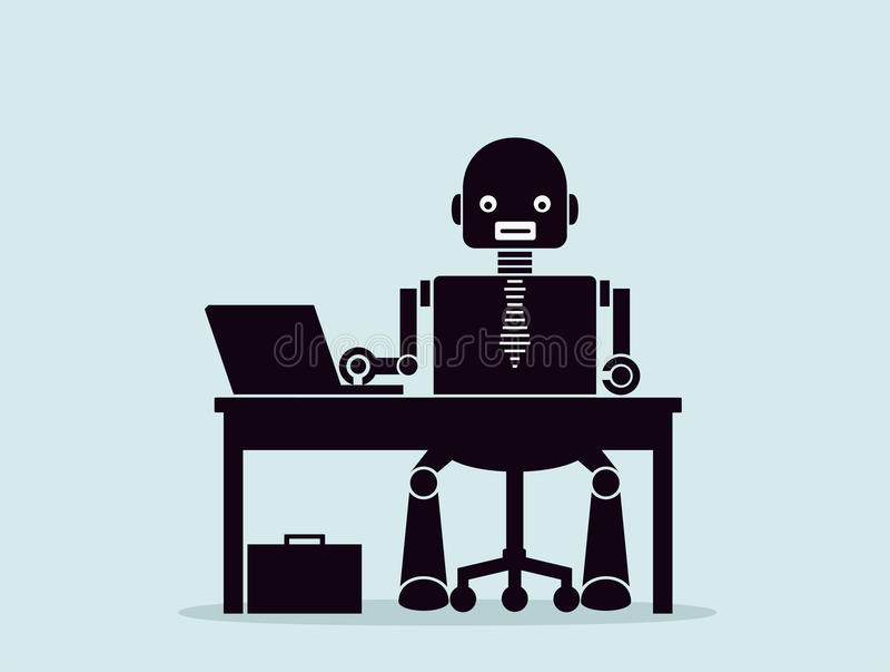 Evolución de robots Concepto de substituir a gente por los robots stock de ilustración