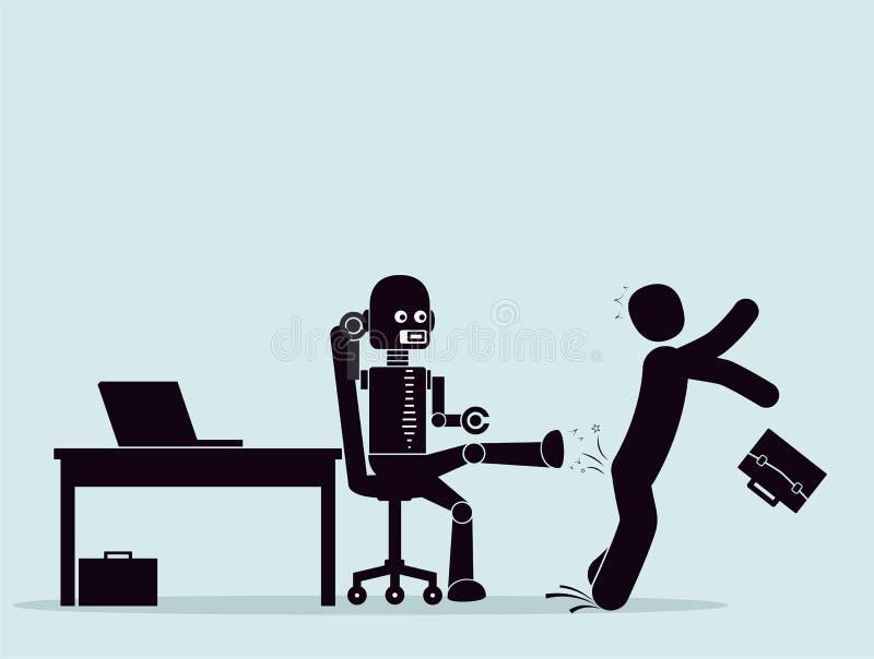 Evolución de robots, lucha para un lugar en el trabajo stock de ilustración