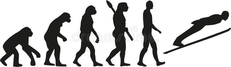 Evolución del salto de esquí ilustración del vector