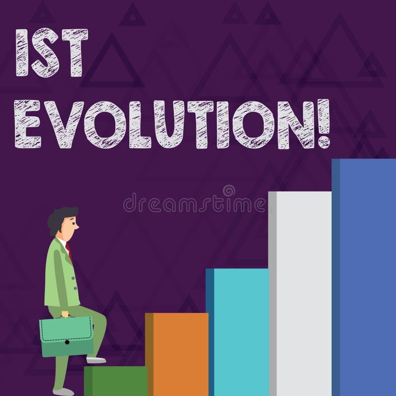 Evolución del texto de la escritura de la palabra 1ra Concepto del negocio para el cambio en las características genéticas de pob ilustración del vector
