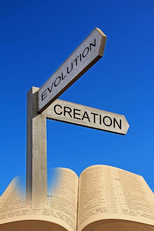 Evolución espiritual de la creación de la muestra de la flecha de la dirección de la biblia fotos de archivo libres de regalías