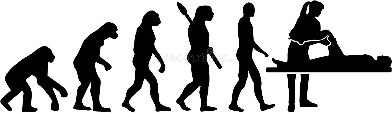 Evolución femenina del terapeuta físico stock de ilustración