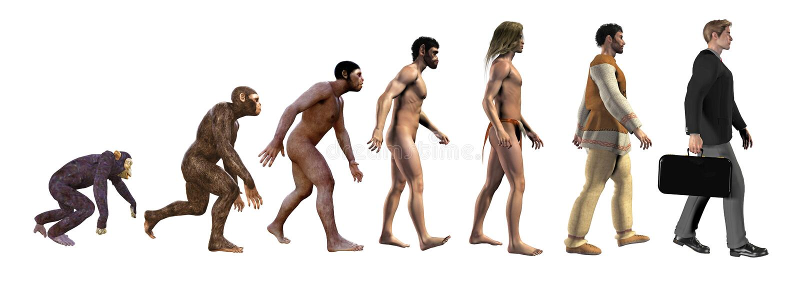 Evolución humana, de monos al negocio, ejemplo 3d stock de ilustración
